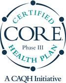 seal reading Certified CORE Phase III Health Plan, a CAQH Initiative